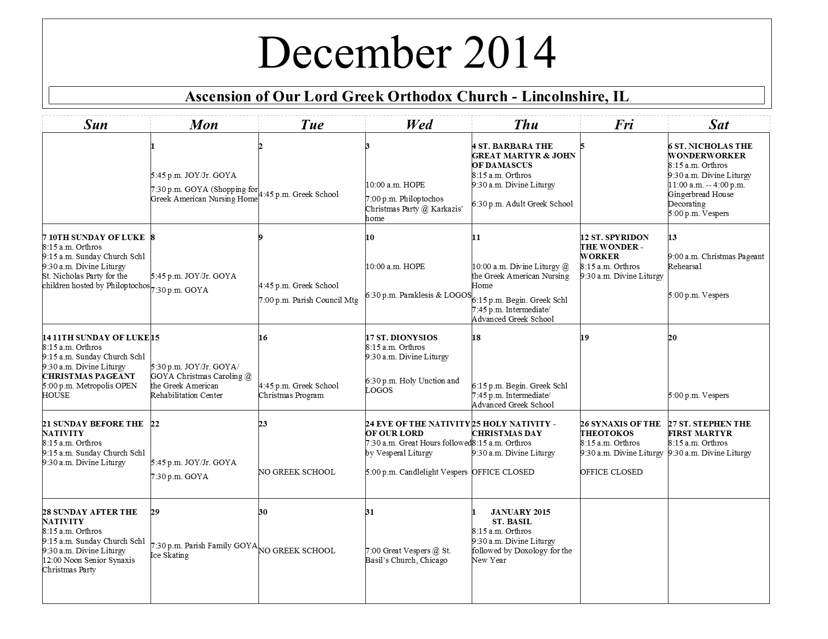 Greek Orthodox Calendar.Printable Monthly Calendar Ascension Of Our Lord Greek Orthodox Church